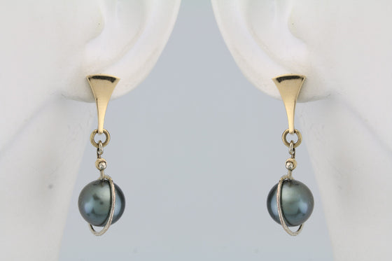 "Cook Island Pearl ""Planetary"" Post Earrings 14 Kt Yellow Gold"