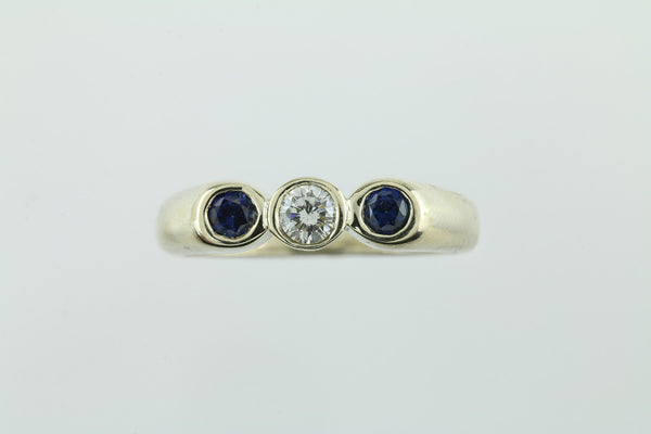 Sapphire and Diamond Three Stone 14kt Gold Ring