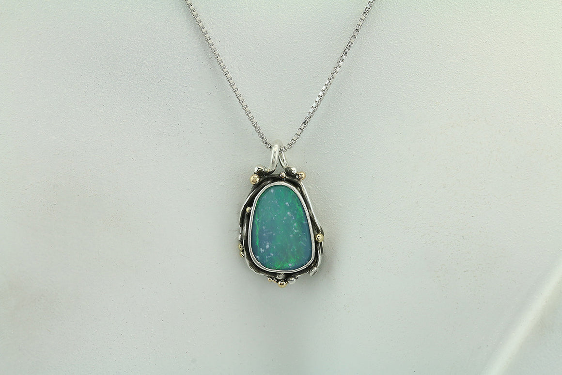 Boulder Opal Sterling and 14kt Gold Pendant