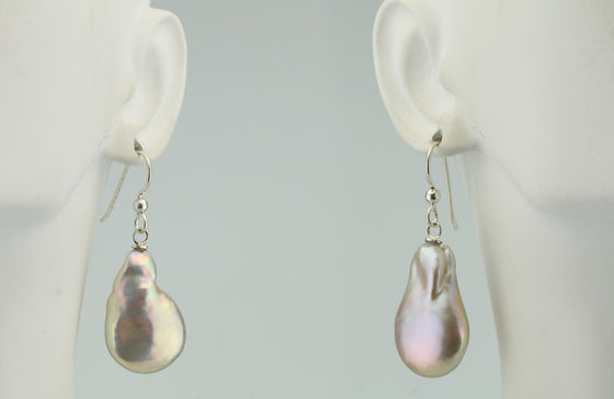 Baroque Coin Pearl Freshwater Sterling Silver Earrings