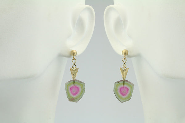 14.47CT Watermelon Tourmaline 14KT Yellow Gold Earrings