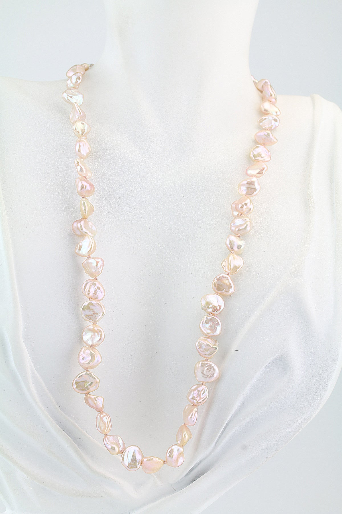 Freshwater Keshi  Pearl Necklace With Southern Gates Clasp 18.5""