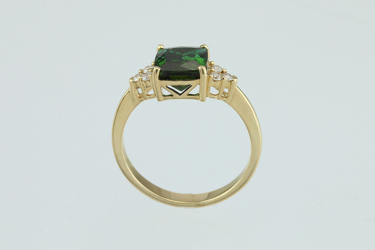 ladies striking with white tourmaline diamond ring green gold accents engagement rings