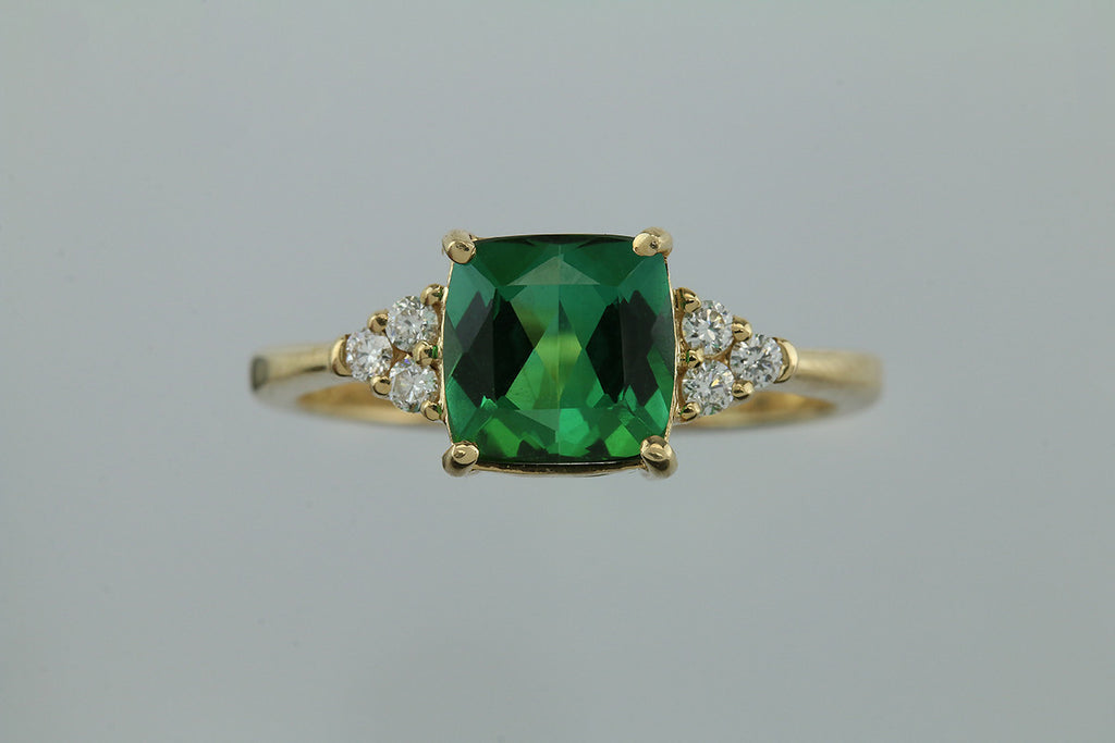 2.61CT Green Tourmaline and Diamond 14KT Gold Ring