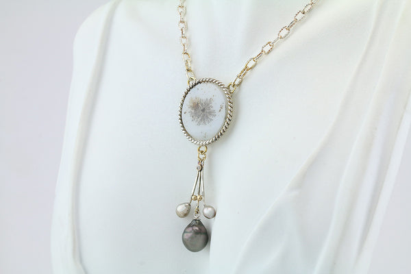 Dendritic Quartz and Cook Island Pearl Silver Necklace