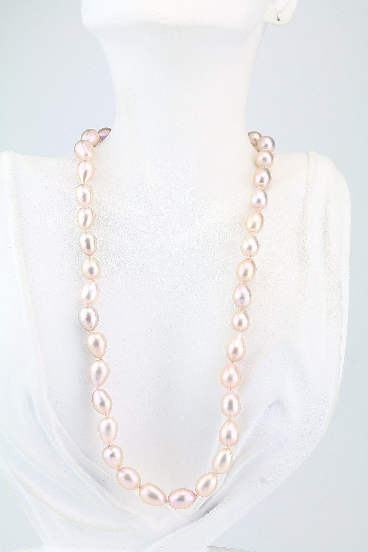 Peach Teardrop Freshwater Pearl Necklace 18""