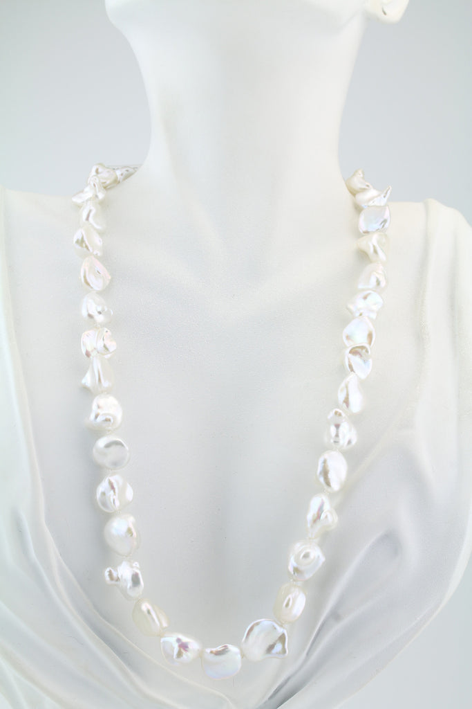 White Petal Freshwater Pearl Necklace 18""