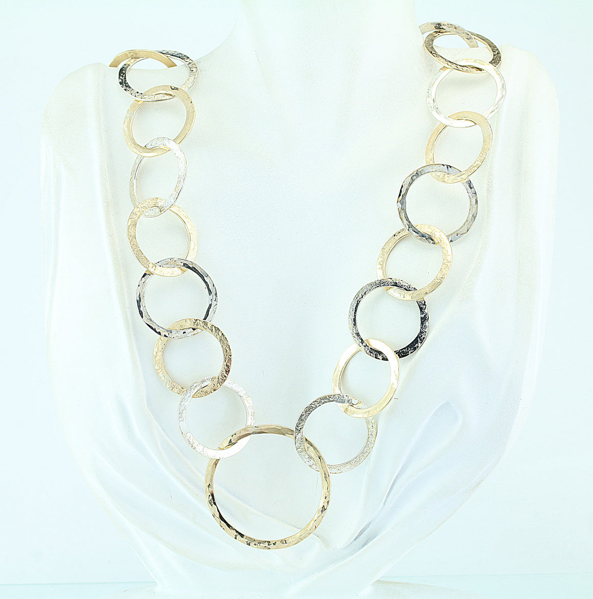 Hand Forged and Hammered Sterling and Gold Filled Circles Necklace 22""