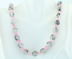 Pink Tourmaline, Tourmalinated Quartz Sterling Necklace 18""