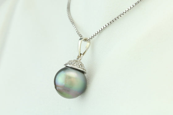 Cook Island Pearl Cubic Zirconia Sterling Pendant