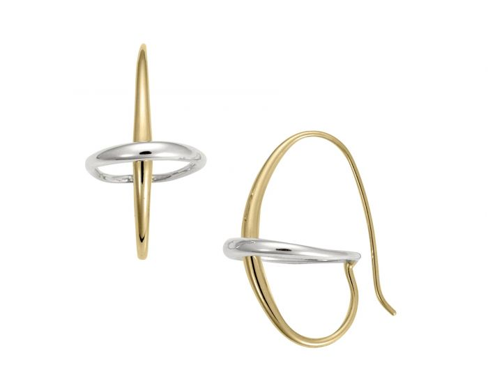Ed Levin 14kt Gold and Silver Two Tone Orbit Earring