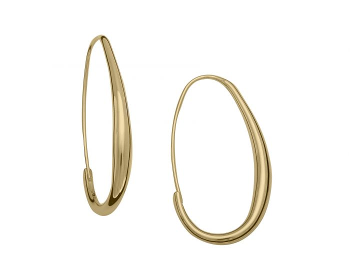 Ed Levin Sterling Silver With Gold Overlay Oval Hoops