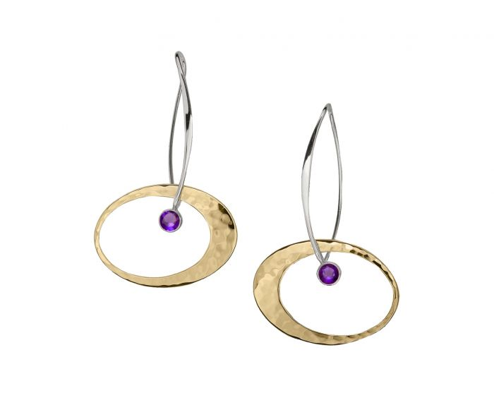 Ed Levin Sterling Silver and 14kt Gold Overlay Elliptical Elegance Gemstone Earrings