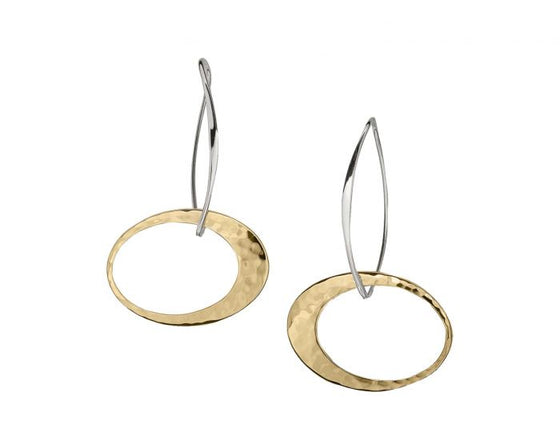Ed Levin Sterling Silver and 14kt Gold Overlay Elliptical Elegance Earrings