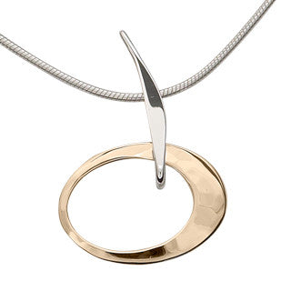 Silver and Gold Over Petite Elliptical Pendant