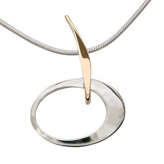 Silver and 14kt Gold Petite Elliptical Pendant