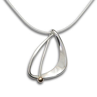 Silver Delta Pendant With 14kt Gold Ball