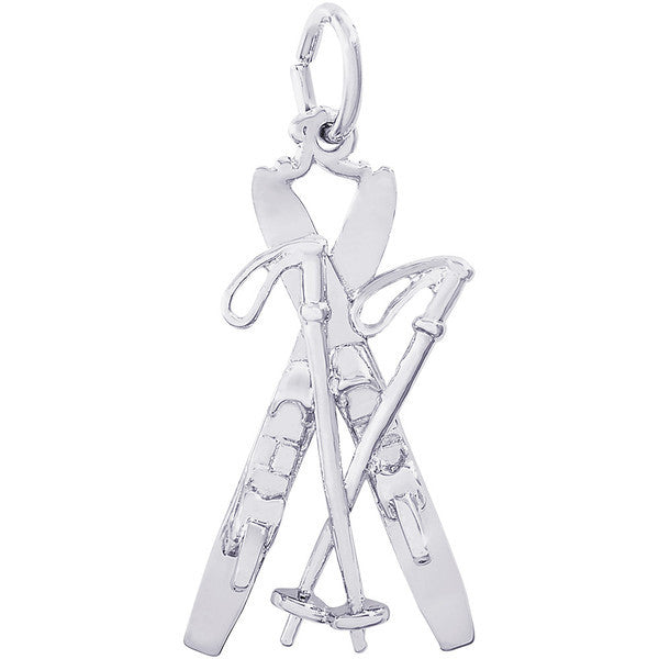 Sterling Silver Downhill Skis with Poles Charm #0776