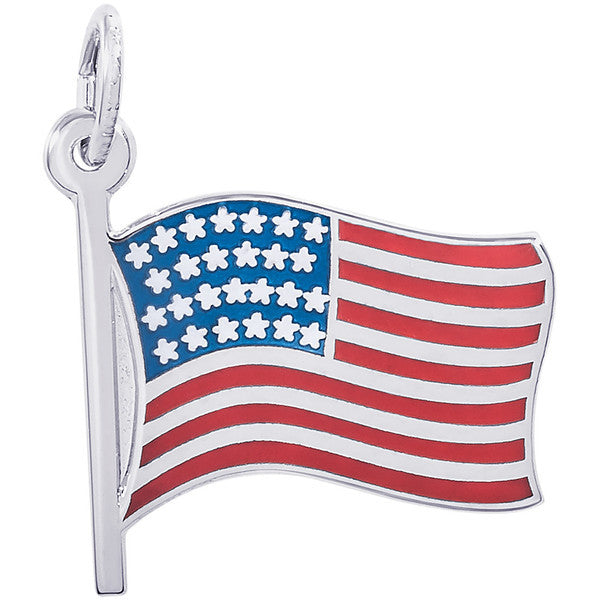 Sterling Silver Painted American Flag Charm #3863