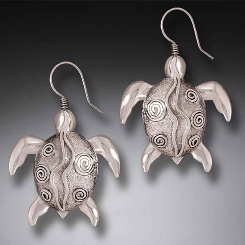 """Silver Sea Turtles"" Sterling Silver Earrings"