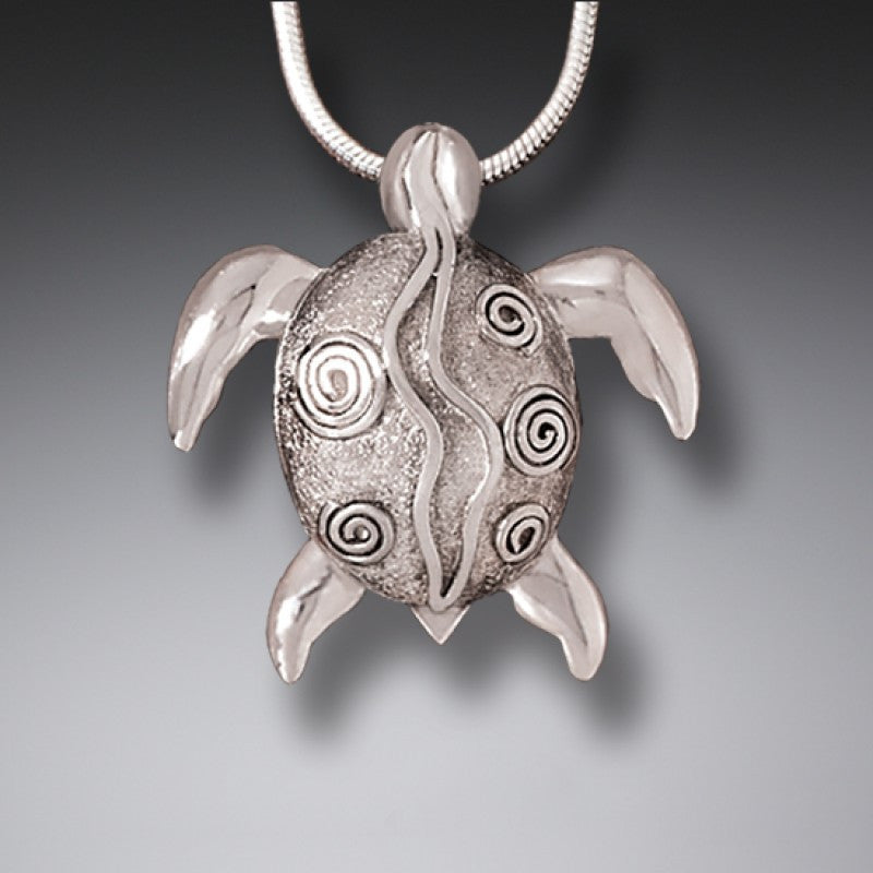 """Silver Sea Turtle"" Sterling Silver Pendant"