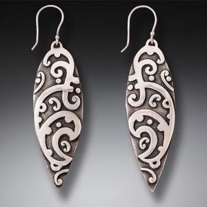 """Maori Surf Design"" Sterling Silver Earrings"