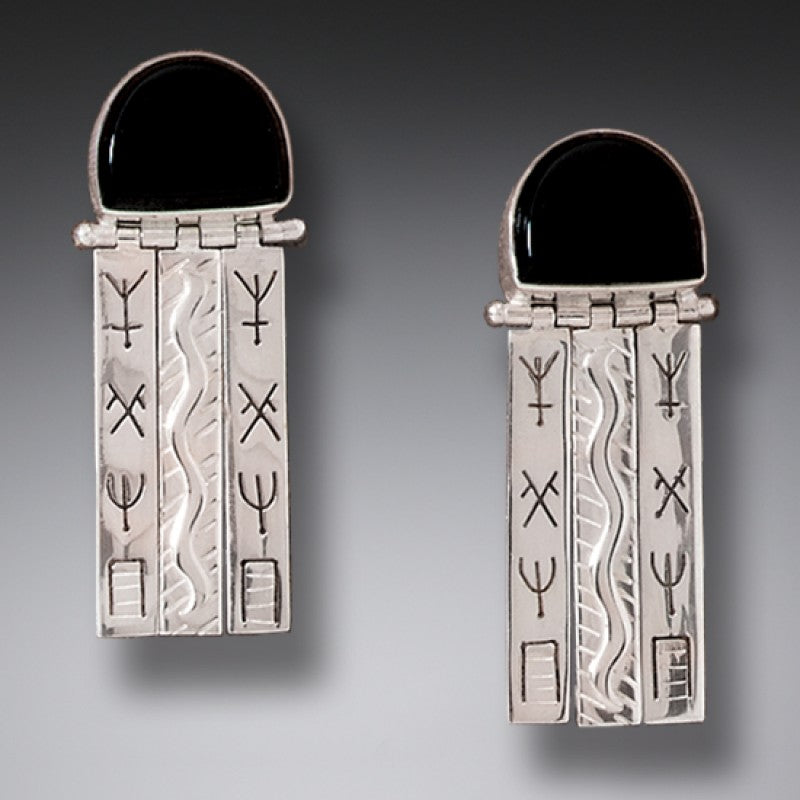 """Priestess"" Onyx and Sterling Silver Earrings"