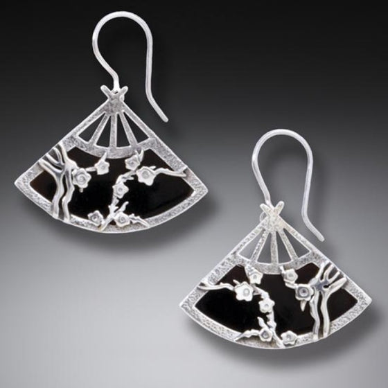"""Fan"" Handmade Geisha Silver Earrings"