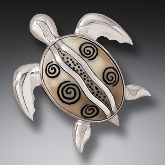 """Turtle at Play"" Ancient Fossilized Walrus Tusk Ivory Sterling Silver Pin and Pendant"