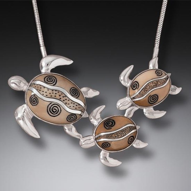 """Mother and Baby Turtles"" Fossilized Walrus Ivory Sterling Silver Necklace"