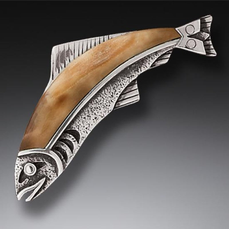"""Ancestor Fish"" Ancient Fossilized Walrus Tusk Ivory Sterling Pin or Pendant"