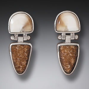 """New Dawn"" Fossilized Walrus Tusk and Sterling Silver Earrings"