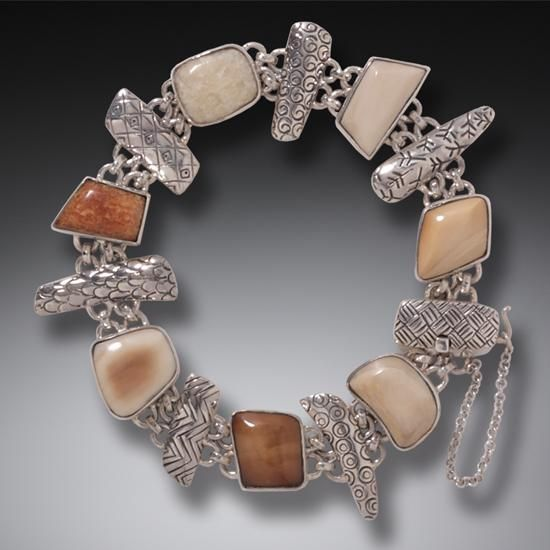 FOSSILIZED WALRUS IVORY BRACELET IN HANDMADE SILVER - LEGENDS