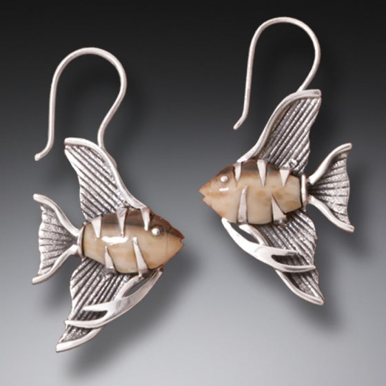 """Angel Fish"" Ancient Walrus Tusk Ivory Silver Earrings"