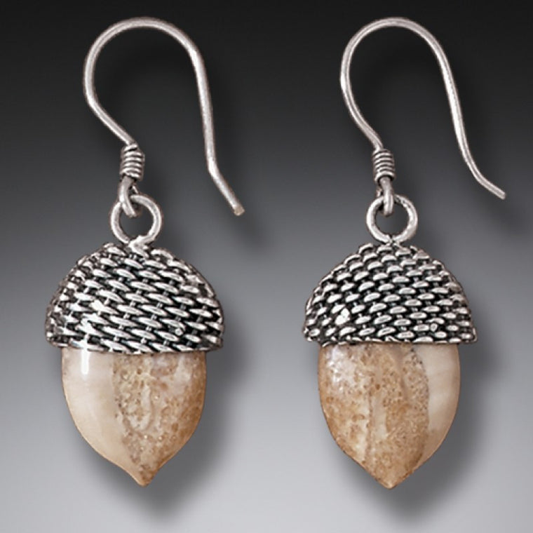 """Acorn"" Ancient Fossilized Walrus Tusk Ivory Sterling Silver Earrings"