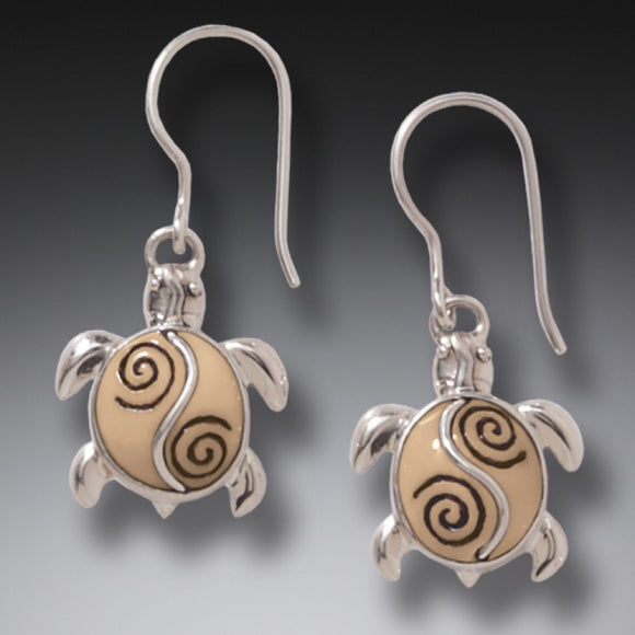"""Baby Turtles"" Ancient Fossilized Walrus Ivory Tusk Silver Earrings"