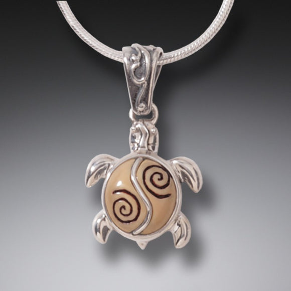 """Baby Turtle"" Ancient Fossilized Walrus Tusk Ivory Sterling Silver Pendant"