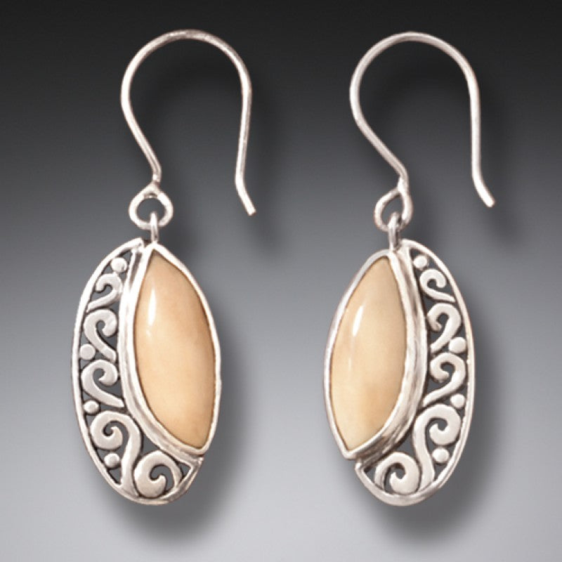 """New Life"" Ancient Fossilized Walrus Tusk Ivory Silver Earrings"