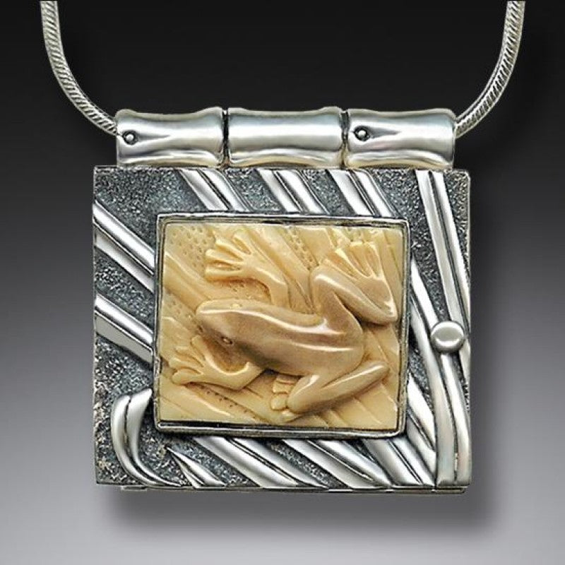 """Frog Locket"" Fossilized Walrus Tusk Sterling Silver Locket"