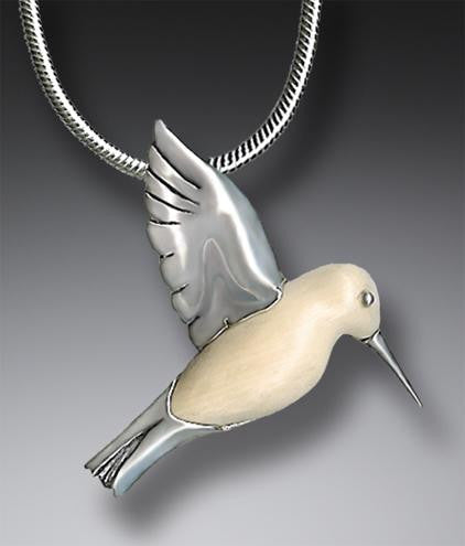 FOSSILIZED WALRUS IVORY SILVER HUMMINGBIRD PENDANT NECKLACE, HANDMADE - HUMMINGBIRD