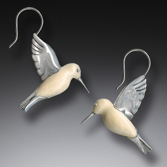 """Hummingbirds"" Ancient Fossilized Walrus Tusk Ivory Silver Earrings"