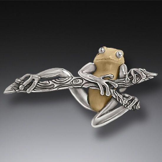 FOSSILIZED WALRUS TUSK IVORY SILVER FROG PIN, HANDMADE - TREE FROG