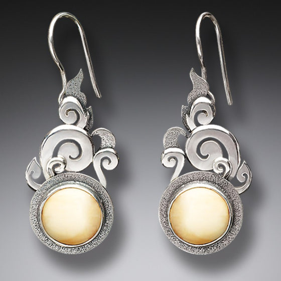 """Lotus Mandala"" Ancient Mammoth Tusk Ivory Silver Earrings"