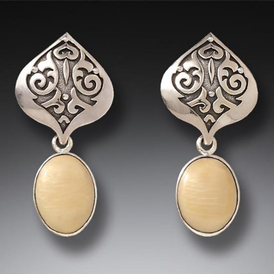 """Ivory Lotus"" Mammoth Tusk Ivory Sterling Silver Earrings"