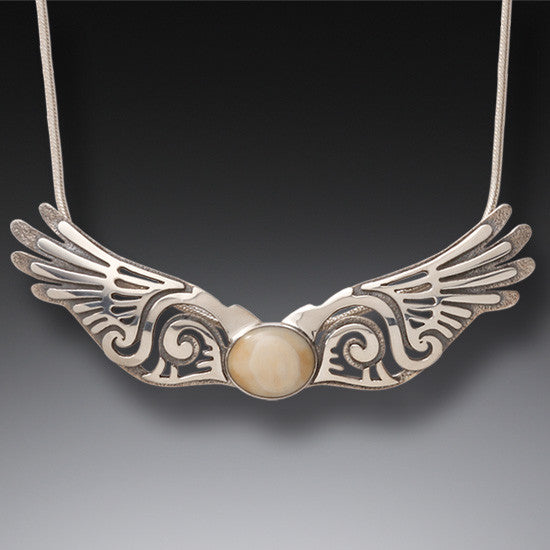 """Wings"" Ancient Fossilized Walrus Tusk Ivory Silver Pendant"