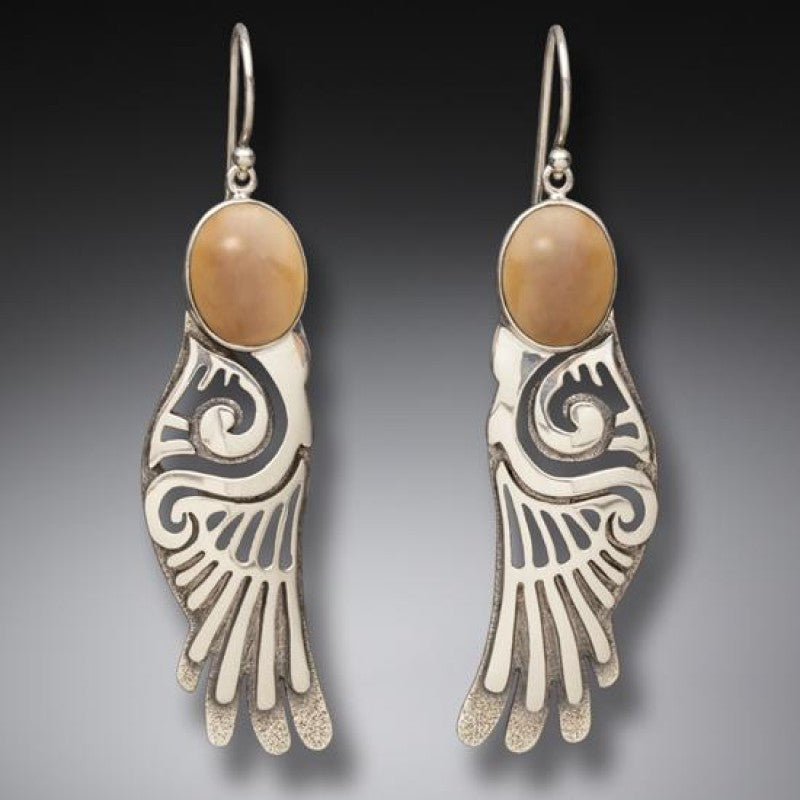 """Wings"" Fossilized Walrus Tusk Ivory and Sterling Silver Earrings"