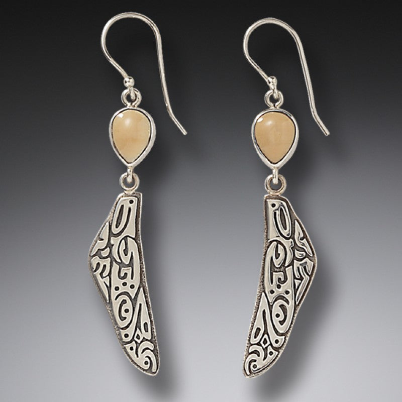 """Tribal Wings"" Ancient Fossilized Walrus Tusk Ivory Sterling Silver Earrings"