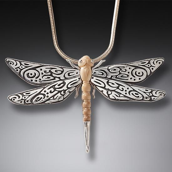 FOSSILIZED WALRUS IVORY SILVER DRAGONFLY PENDANT, HANDMADE - TRIBAL DRAGONFLY