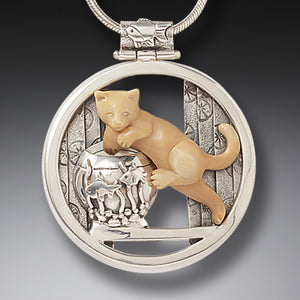 FOSSILIZED WALRUS IVORY CAT PENDANT SILVER, HANDMADE - MISCHIEF