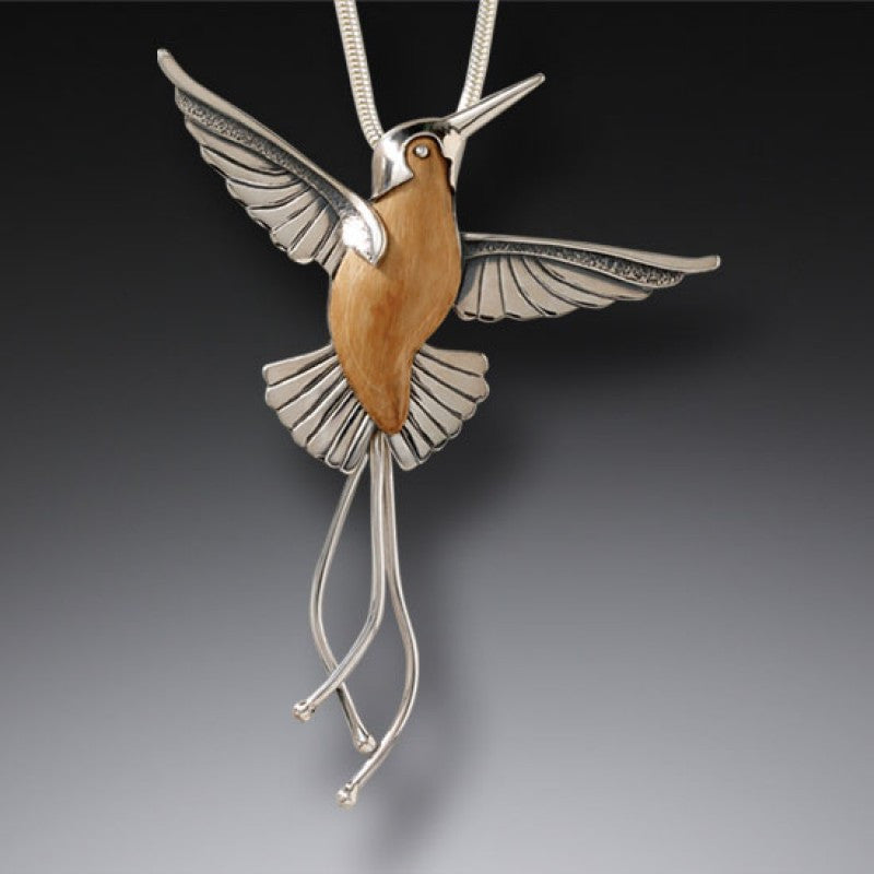 FOSSILIZED WALRUS TUSK HUMMINGBIRD PENDANT NECKLACE, HANDMADE SILVER - TAKING FLIGHT